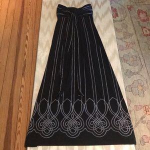 Comfortable, Tie Top Black Maxi Dress